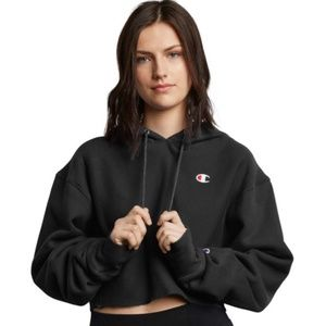 Black cropped champion hoodie